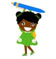 Little cute dark skin girl holding pen vector image