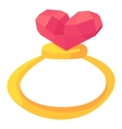 Gold ring with pink heart gemstone icon vector image