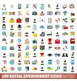 100 social environment icons set flat style vector image vector image