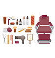 barber shop equipments set vector image