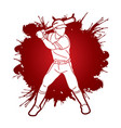 baseball player action cartoon sport graphic vector image vector image