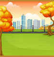 beautiful autumn park with city buildings vector image vector image