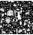 Black and white cute autumn pattern vector image