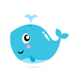 Blue cartoon whale isolated on white vector image vector image