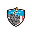 Bulldog Baseball Batting USA Crest Cartoon vector image vector image