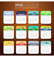 Calendar template for 2016 vector image vector image