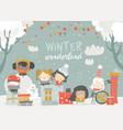 cartoon different children enjoying winter hello vector image vector image