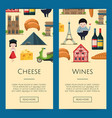 cartoon france sights banners vector image vector image