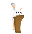 caucasian doctor giving a speech from tribune vector image vector image