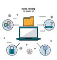 colorful poster of data center service with laptop vector image vector image