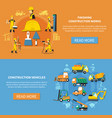 construction worker banner set vector image vector image