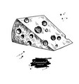 emmental cheese drawing hand drawn food vector image vector image