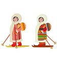 eskimo girl in ski bag vector image vector image