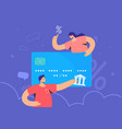 family banking and blue credit card interest rate vector image vector image