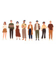 group young people standing full-length vector image