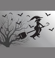 halloween witch flying silhouette vector image vector image