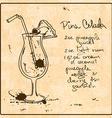 Hand drawn Pina Colada cocktail vector image
