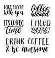 handwritten coffee phrases set quotes vector image vector image