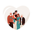 happy family in heart shape vector image