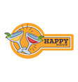 happy hour in pub or bar isolated icon cocktail vector image