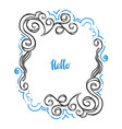 hello doodle floral frame-03 vector image vector image