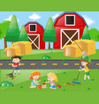 kids working in the park vector image vector image