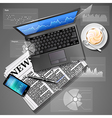 laptop and mobile phone with newspaper and coffee vector image