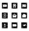 Letter icons set grunge style vector image