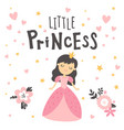 little princess in pink dress and lettering text vector image vector image