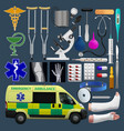 medical equipment set emergensy ambulance tools vector image vector image