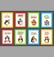 merry christmas penguins having fun cards vector image vector image