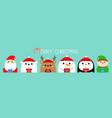 merry christmas santa claus elf white bear vector image vector image