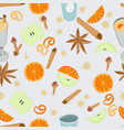 mulled wine seamless pattern vector image