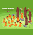 nature worship isometric background vector image vector image