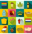 Netherlands icons set flat style vector image vector image