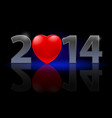 new year 2014 metal numerals with red heart vector image