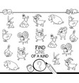 one a kind game with farm animals coloring book vector image vector image
