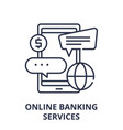Online banking services line icon concept online