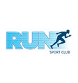 running sportsman on white background sport club vector image vector image