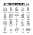 set auto service thin line icons pictograms vector image