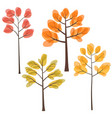set of fall trees with yellow orange and red vector image