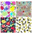 Set of seamless floral backgrounds vector image vector image