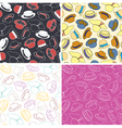 Set of seamless patterns with hats vector image vector image