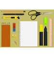 set office supplies vector image vector image