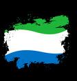Sierra Leone Flag grunge style on black background vector image vector image