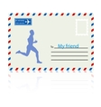 Silhouettes athlete runs on the mail envelope vector image vector image