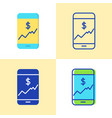 smartphone with chart icon set in flat and line vector image