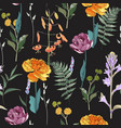 spring bouquets on vintage black background vector image vector image