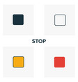 stop icon set four elements in diferent styles vector image