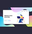 support center website landing page woman vector image vector image